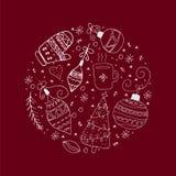 Elementi disegnati a mano bianchi di scarabocchio nel cerchio su un fondo rosso scuro illustrazione di stock