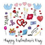 Elementi disegnati a mano del biglietto di S. Valentino di scarabocchio Cartolina d'auguri Può essere usato come sventando per le Fotografia Stock