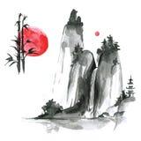 Elementi disegnati a mano del sumi-e dell'inchiostro: landskype, sole, bambù Il Giappone TR Immagine Stock Libera da Diritti