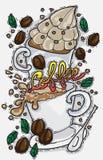 Elementi disegnati a mano della caffetteria Fotografia Stock