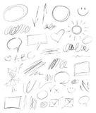 Elementi disegnati a mano della matita della raccolta Fotografie Stock Libere da Diritti