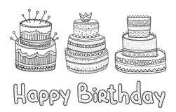 Elementi disegnati a mano di compleanno dell'insieme Grandi dolci di celebrazione Fotografia Stock