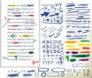 Elementi disegnati a mano di correzione Fotografia Stock