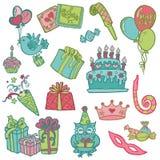 Elementi disegnati a mano di disegno di celebrazione di compleanno Fotografia Stock Libera da Diritti