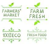 Elementi disegnati a mano di disegno Etichette del mercato dell'agricoltore Fotografia Stock