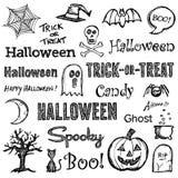 Elementi disegnati a mano di Halloween Fotografie Stock
