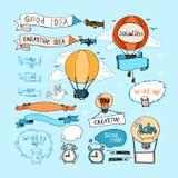 Elementi disegnati a mano di idea Lampadine, aeroplani Fotografie Stock