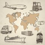 Elementi disegnati a mano di logistica Immagini Stock Libere da Diritti