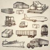 Elementi disegnati a mano di logistica Fotografia Stock
