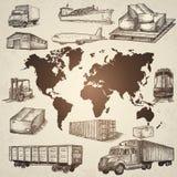 Elementi disegnati a mano di logistica Fotografie Stock