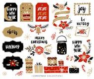 Elementi disegnati a mano di progettazione di Natale con la calligrafia illustrazione di stock