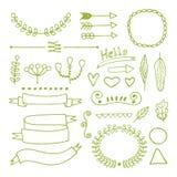 Elementi disegnati a mano di progettazione di scarabocchio Immagini Stock Libere da Diritti
