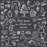 elementi disegnati a mano di progettazione per il tema della cucina Vettore Immagini Stock Libere da Diritti