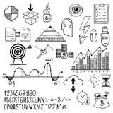 Elementi disegnati a mano di scarabocchio di finanza di affari con Fotografie Stock