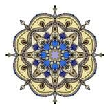 Elementi disegnati a mano multicolori di progettazione orientale floreale della mandala Fotografie Stock