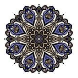 Elementi disegnati a mano multicolori di progettazione orientale floreale della mandala Immagini Stock