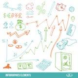 Elementi disegnati a mano per infographic Immagini Stock Libere da Diritti