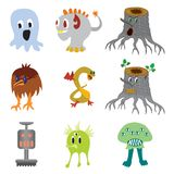 Elementi divertenti di progettazione del mostro del carattere sveglio di colore illustrazione di stock