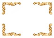 Elementi dorati del telaio scolpito su bianco Fotografia Stock Libera da Diritti
