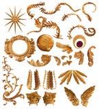 Elementi dorati della piuma Immagini Stock Libere da Diritti