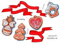 Elementi e biscotti della decorazione di inverno, disegnati a mano Fotografie Stock Libere da Diritti