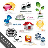 Elementi ed icone di disegno Immagine Stock Libera da Diritti