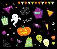 Elementi ed icone di disegno di Halloween I Fotografia Stock Libera da Diritti