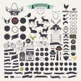 Elementi ed icone di infographics di stile dei pantaloni a vita bassa Immagine Stock