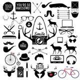Elementi ed icone di infographics di stile dei pantaloni a vita bassa Fotografie Stock