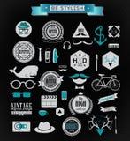 Elementi ed icone di stile dei pantaloni a vita bassa Fotografie Stock