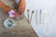 Elementi essenziali della stazione termale per un manicure Immagini Stock