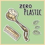 Elementi essenziali naturali della doccia Prodotto dello zero-spreco ed ecologico Serra e vita senza plastica illustrazione di stock