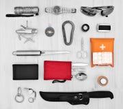 Elementi essenziali per il viaggiatore, esploratore Fotografie Stock Libere da Diritti