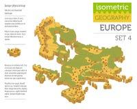 Elementi fisici isometrici o del costruttore della mappa di 3d Europa illustrazione vettoriale