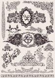 Elementi floreali antichi dell'annata per il disegno illustrazione di stock