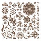 Elementi floreali astratti di progettazione dell'illustrazione su fondo bianco Immagine Stock Libera da Diritti