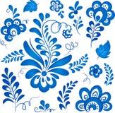 Elementi floreali blu nello stile russo del gzhel Fotografia Stock