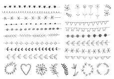 Elementi floreali d'annata disegnati a mano Fotografia Stock