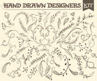Elementi floreali d'annata disegnati a mano Fotografia Stock Libera da Diritti