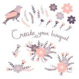 Elementi floreali d'annata disegnati a mano Insieme dei fiori illustrazione vettoriale