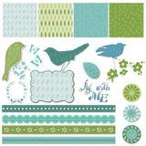 Elementi floreali di disegno dell'album con gli uccelli illustrazione vettoriale