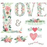 Elementi floreali di progettazione di amore di nozze Fotografia Stock
