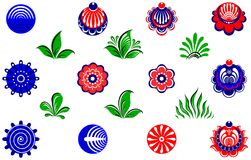 Elementi floreali di stile della pittura di Gorodets Fotografia Stock