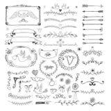 Elementi floreali disegnati a mano della pagina Turbinii, nastri Fotografia Stock Libera da Diritti