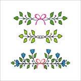 Elementi floreali disegnati a mano Insieme dei fiori e degli elementi decorativi Fotografia Stock