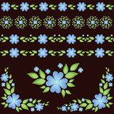 Elementi floreali e strisce senza cuciture Fotografia Stock Libera da Diritti