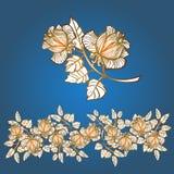 Elementi floreali rose Bordo Immagine Stock