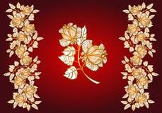 Elementi floreali rose Bordo Immagini Stock