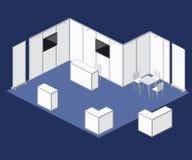 Elementi giusti di vettore della cabina del supporto dello spazio in bianco di mostra Immagini Stock