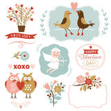 Elementi grafici di giorno di biglietti di S. Valentino, raccolta di vettore Fotografie Stock Libere da Diritti